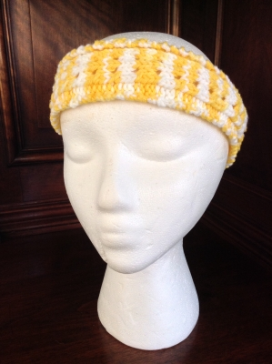 Hand Knit Yellow and White Headband