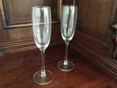 Glass Champagne Flutes, Set of 2