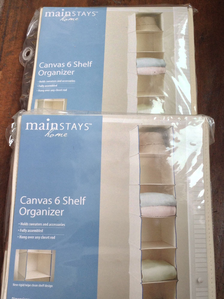 Mainstays Home Canvas 6 Shelf Organizers, Set of 2