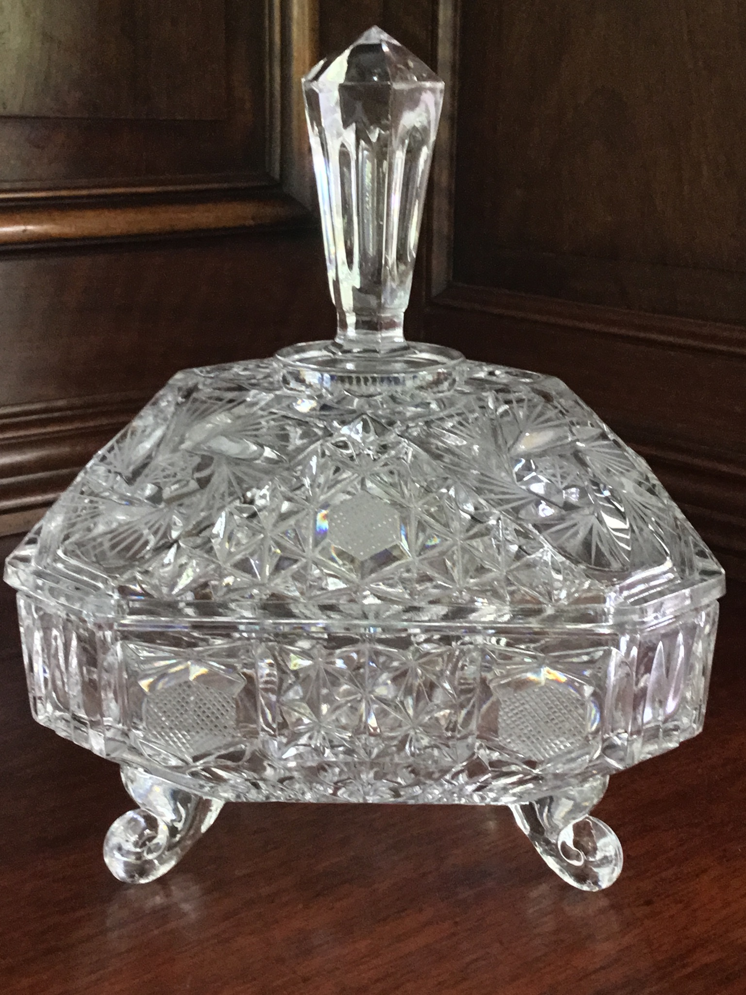 Square Footed Covered Candy Dish