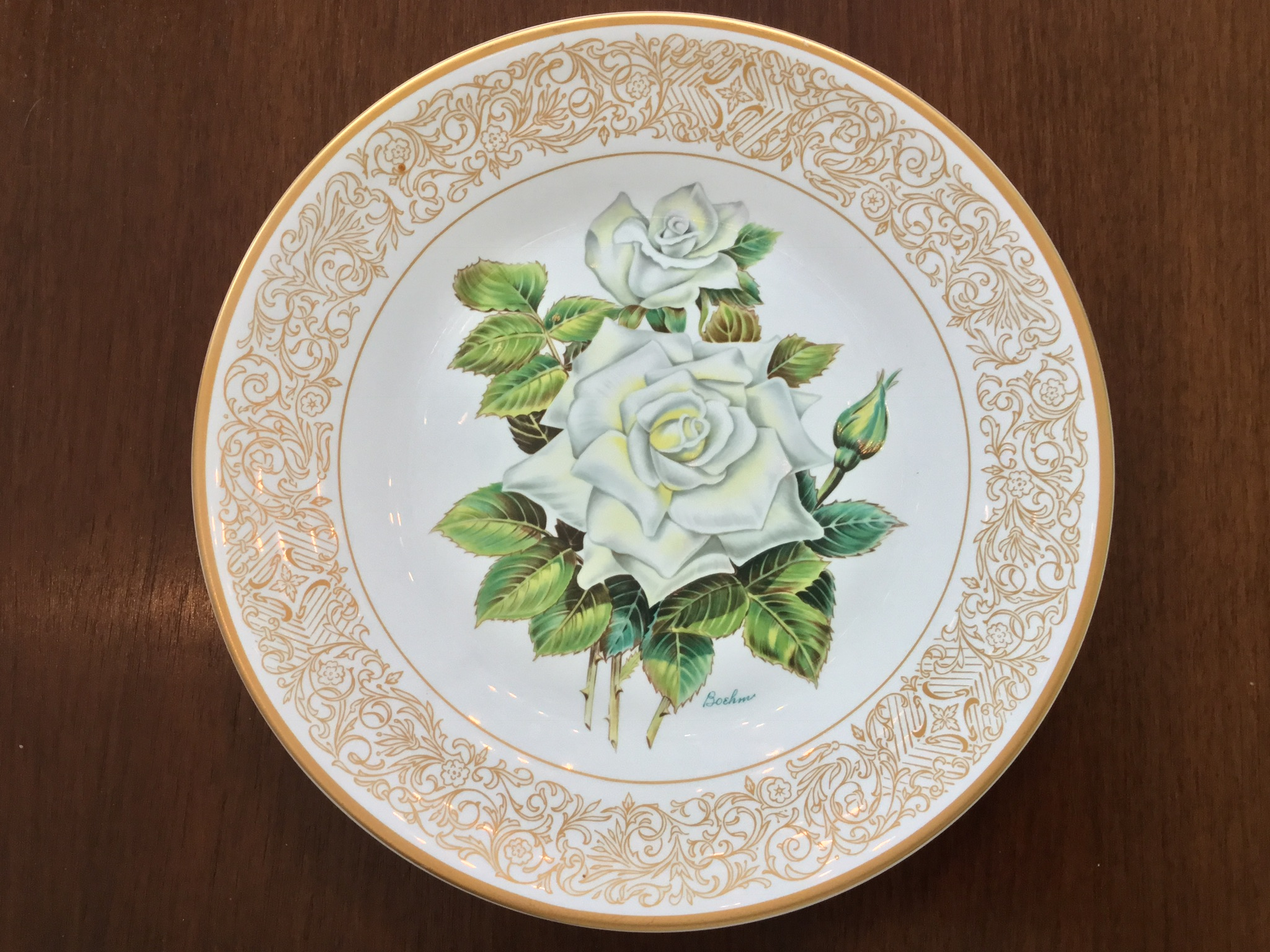 "Boehm ""The White Masterpiece Rose"" Plate"